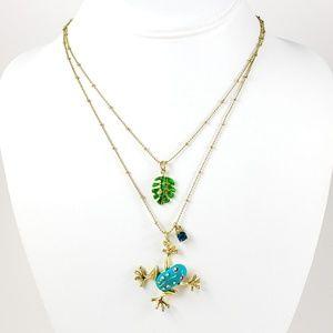 Betsey Johnson Necklace Frog, Leaf and Rhinestone